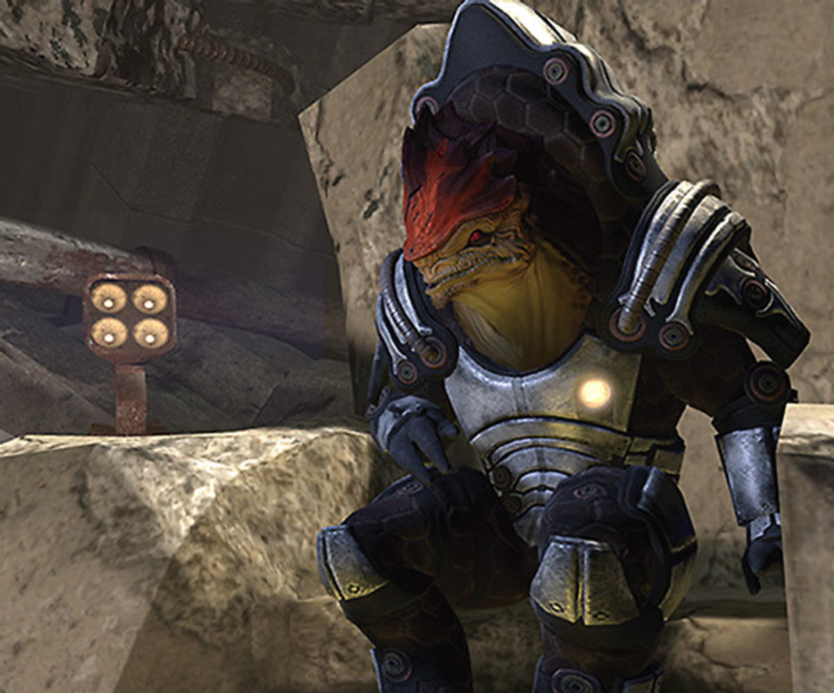 """Wrex sits on his throne in """"Mass Effect 2."""""""