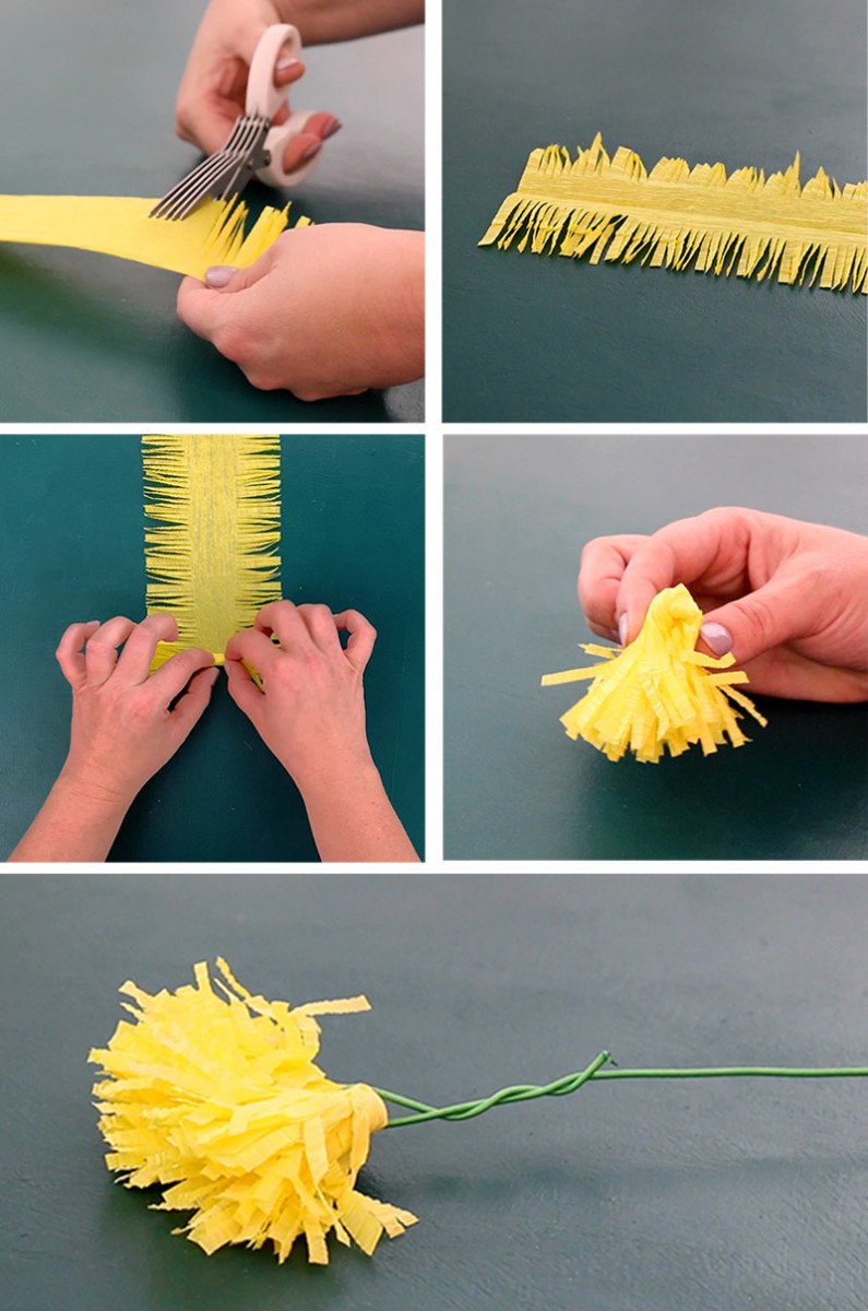 Creating centers and fringed crepe paper flowers is a lot easier when you used fringed scissors
