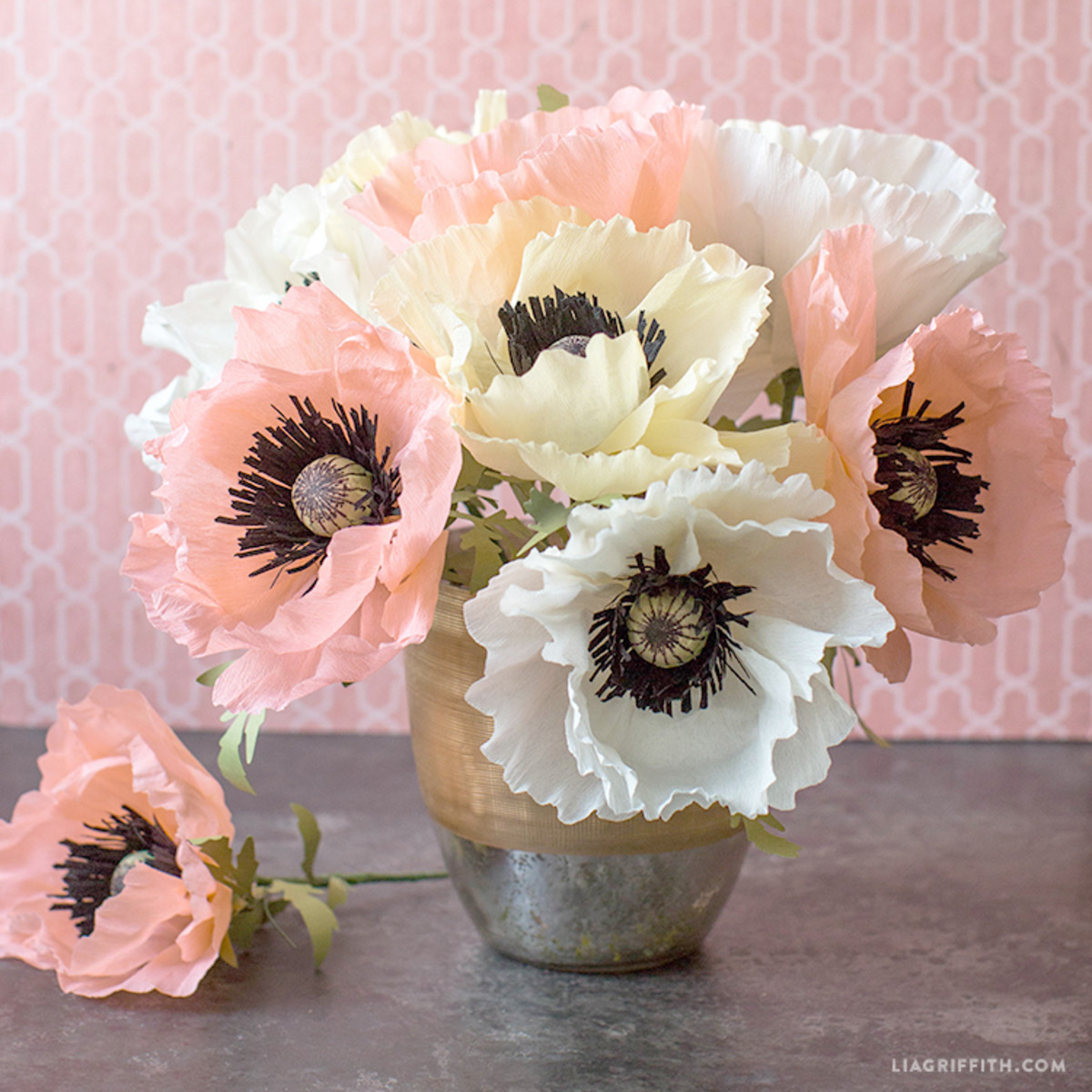 Make sure to use good quality crepe paper in your flowers. You will find that you get a better quality flower  with better quality crepe paper