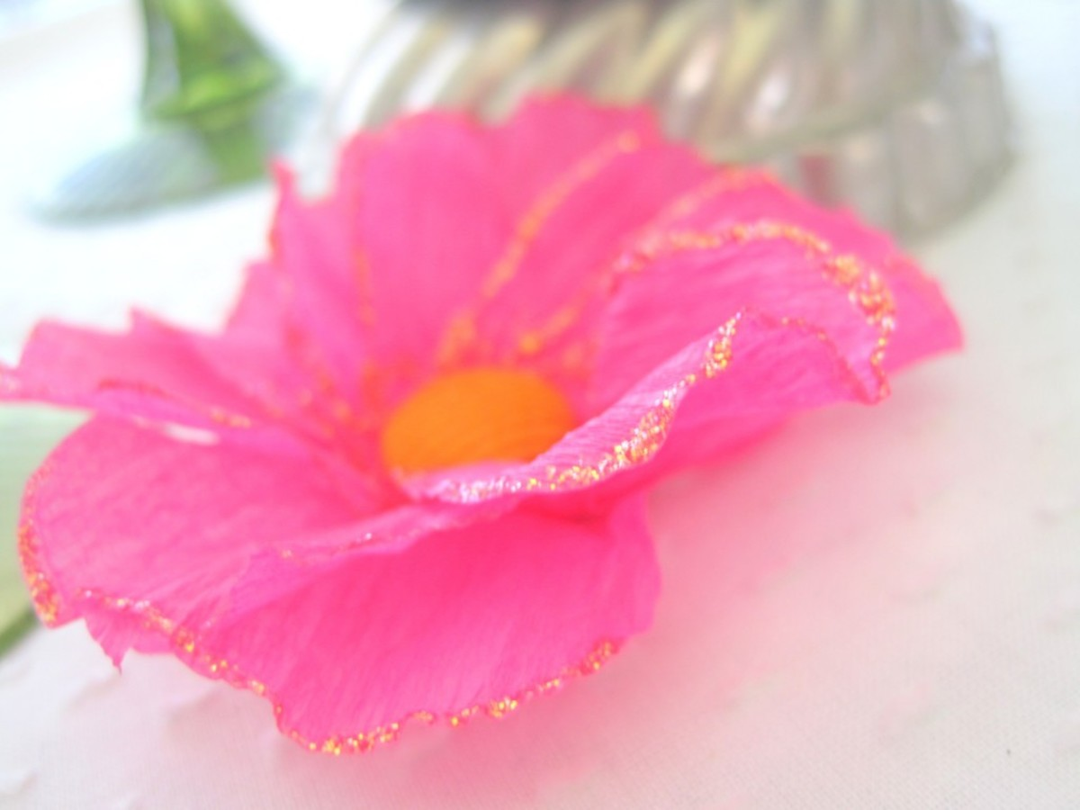 A little glitter adds a bit of bling to your crepe paper flowers.