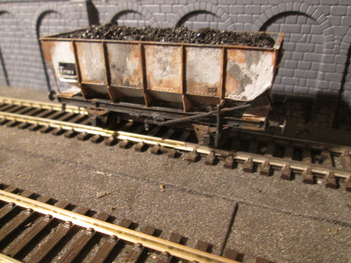 Four wheeled steel hopper wagons - by the bucket-load, from different sources and of different makes. This is a Parkside kit of ex-LNER Dgm 100 20 ft wagon in early BR livery. There are also Dapol versions, and Parkside Dgm 146 21 ton hoppers