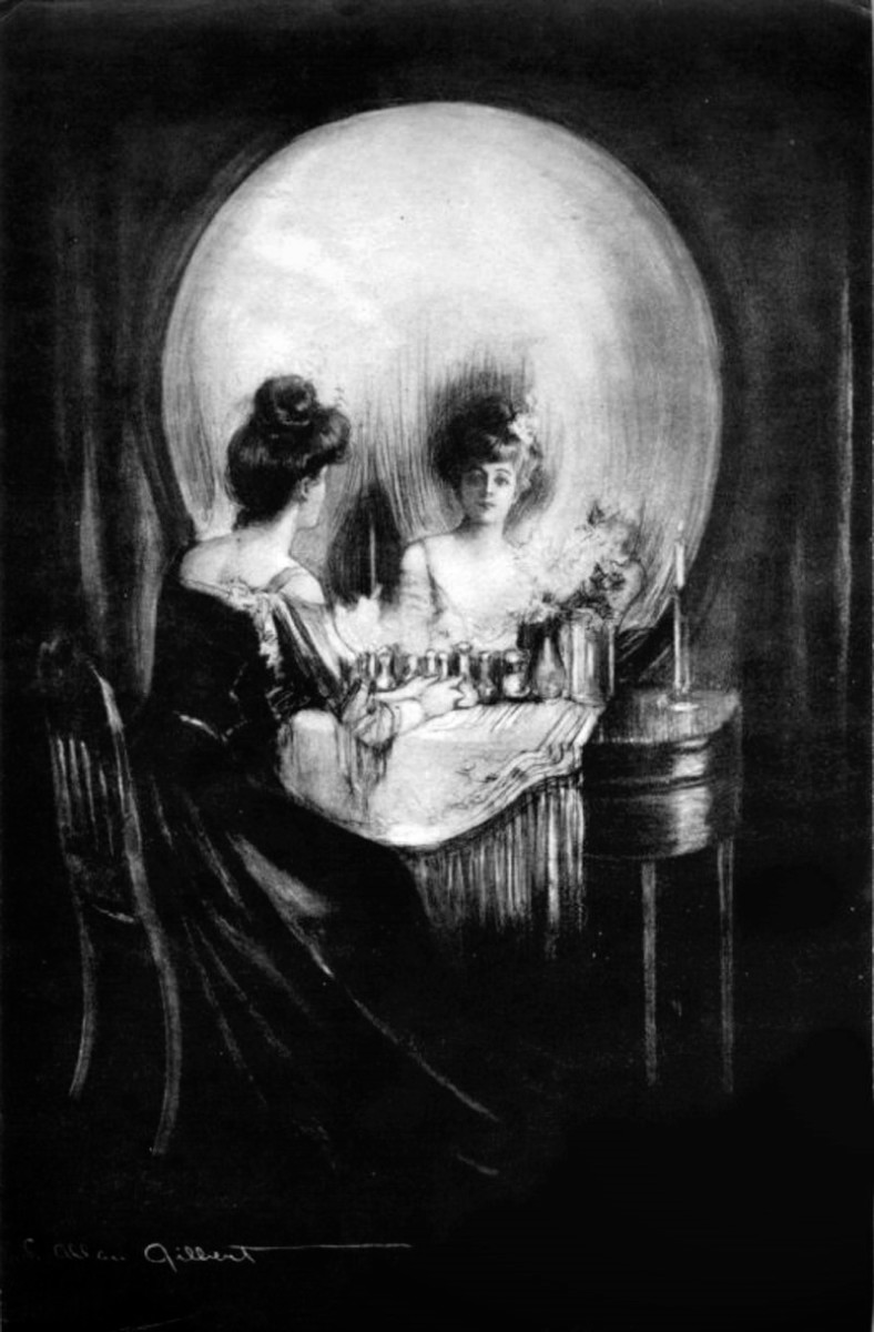 The ever famous 'All Is Vanity' optical illusion. Do you see a woman looking into a mirror or a skull?