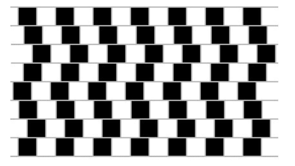 These rows of squares are also parallel to each other but the zig zag lines make you think otherwise!
