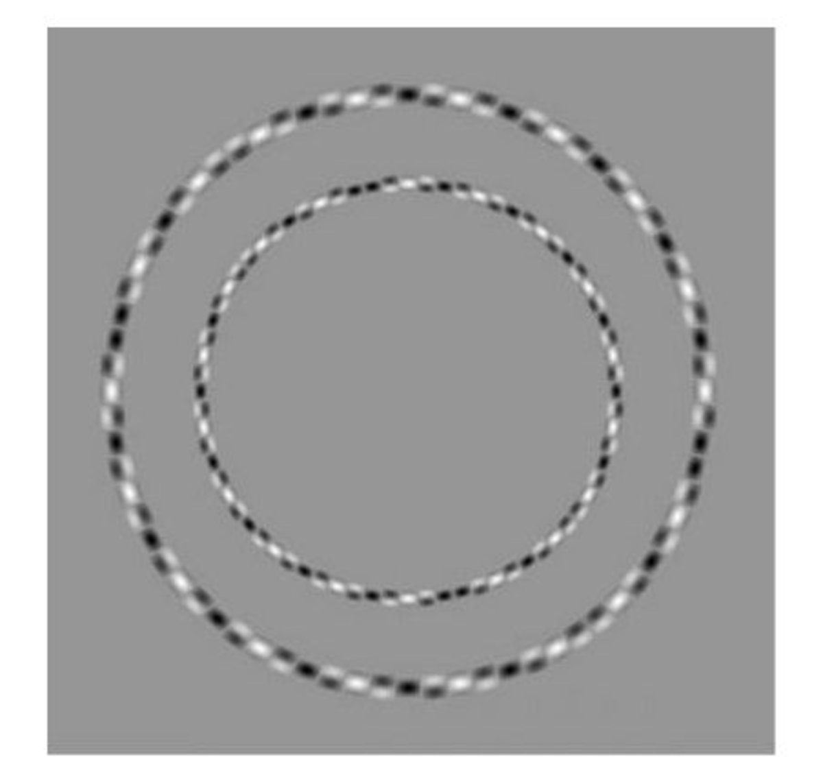 The circles look distorted because of the black and white patterns on them!