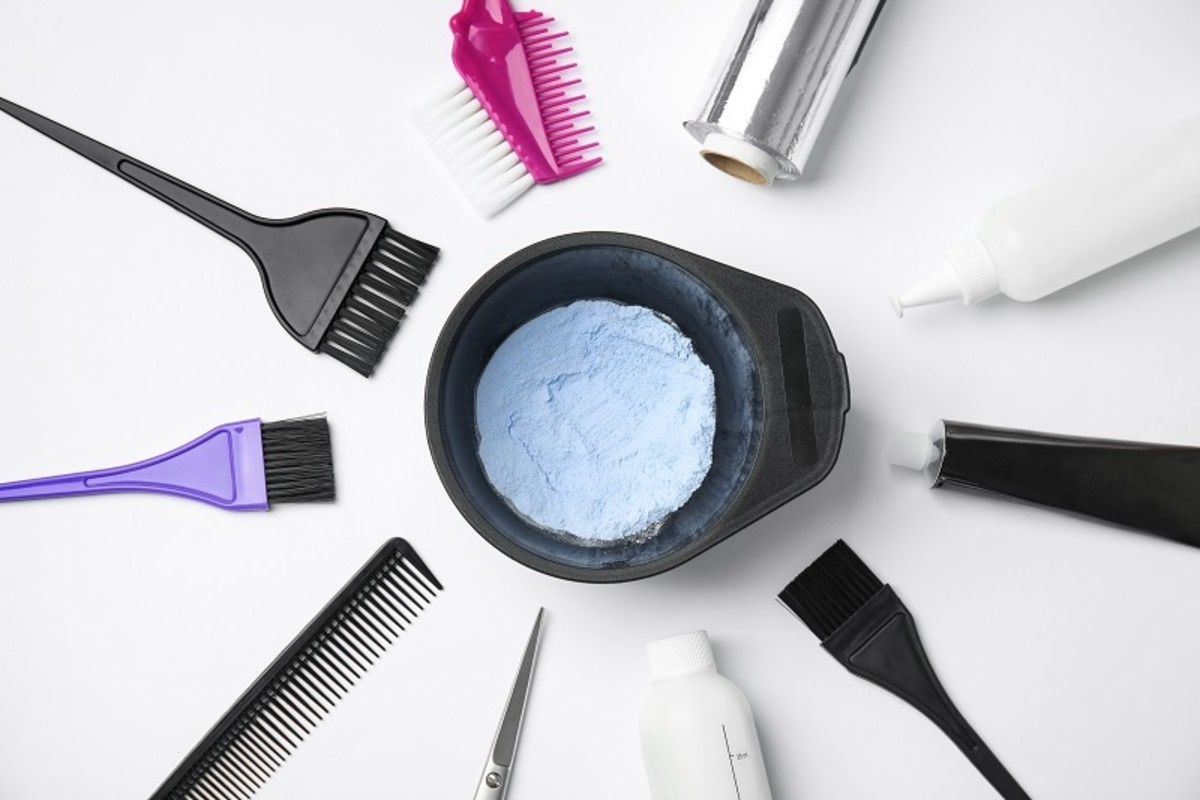 You'll need dye, lightener, peroxide, and tools for coloring and bleaching hair.