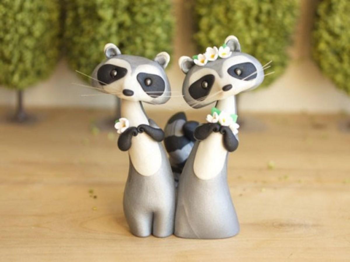 A cute raccoon pair.
