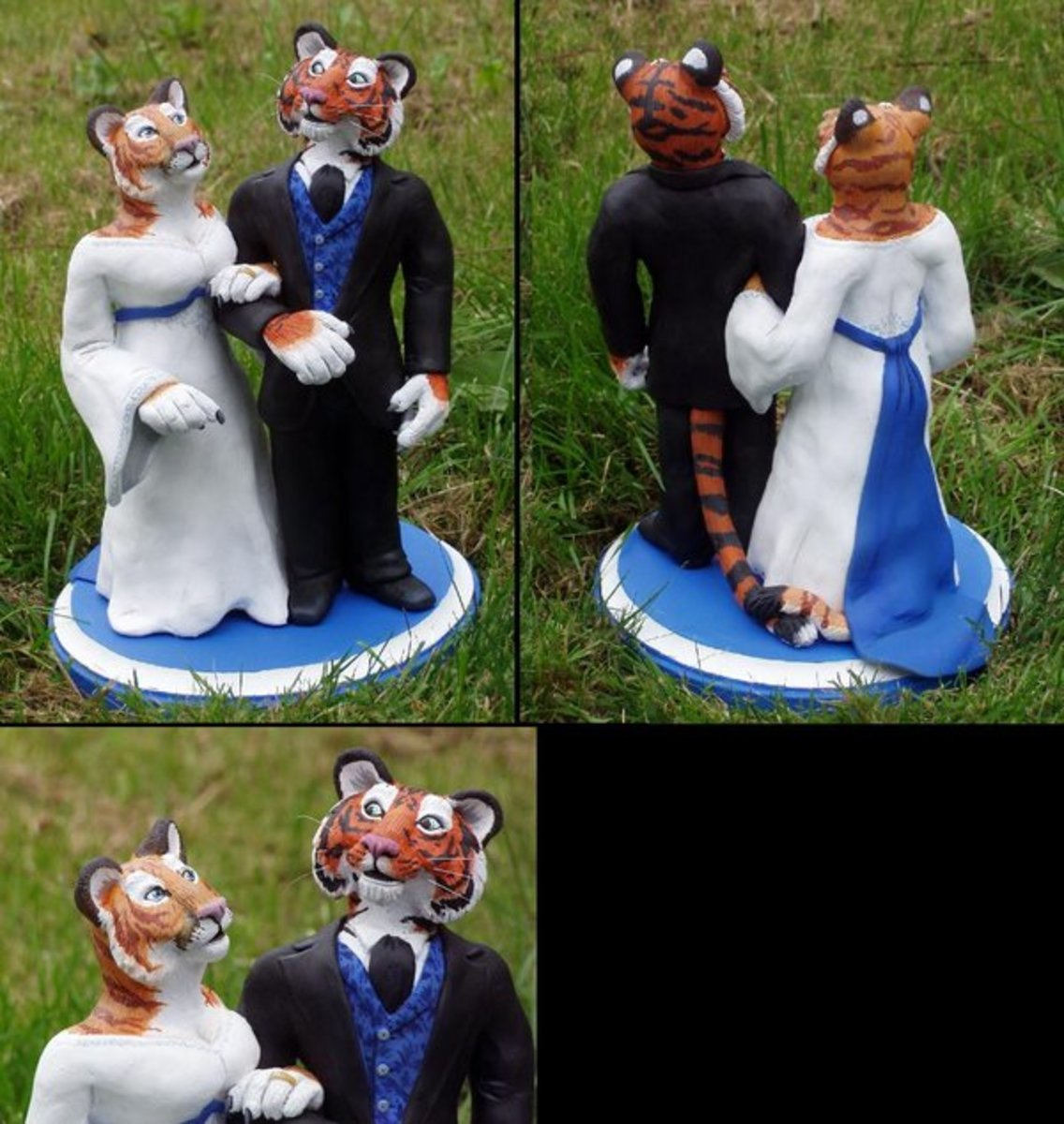 This tiger couple is dressed nicely in traditional bride and groom outfits.