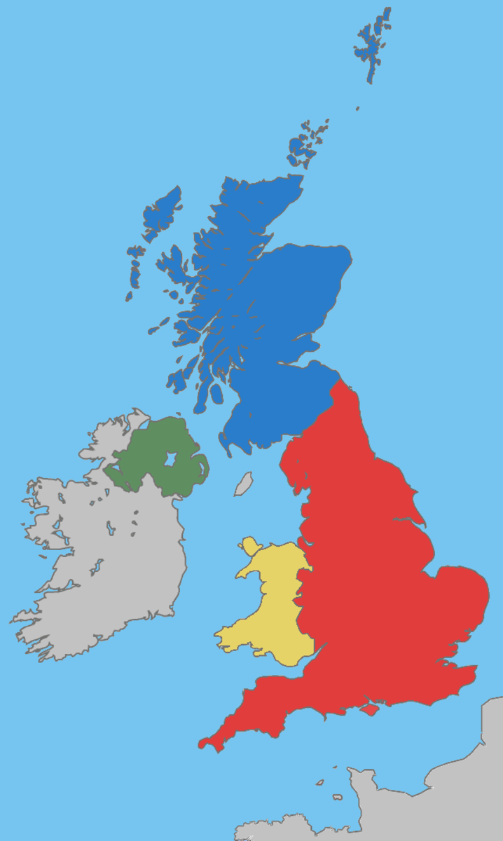 Map of the United Kingdom, including Wales