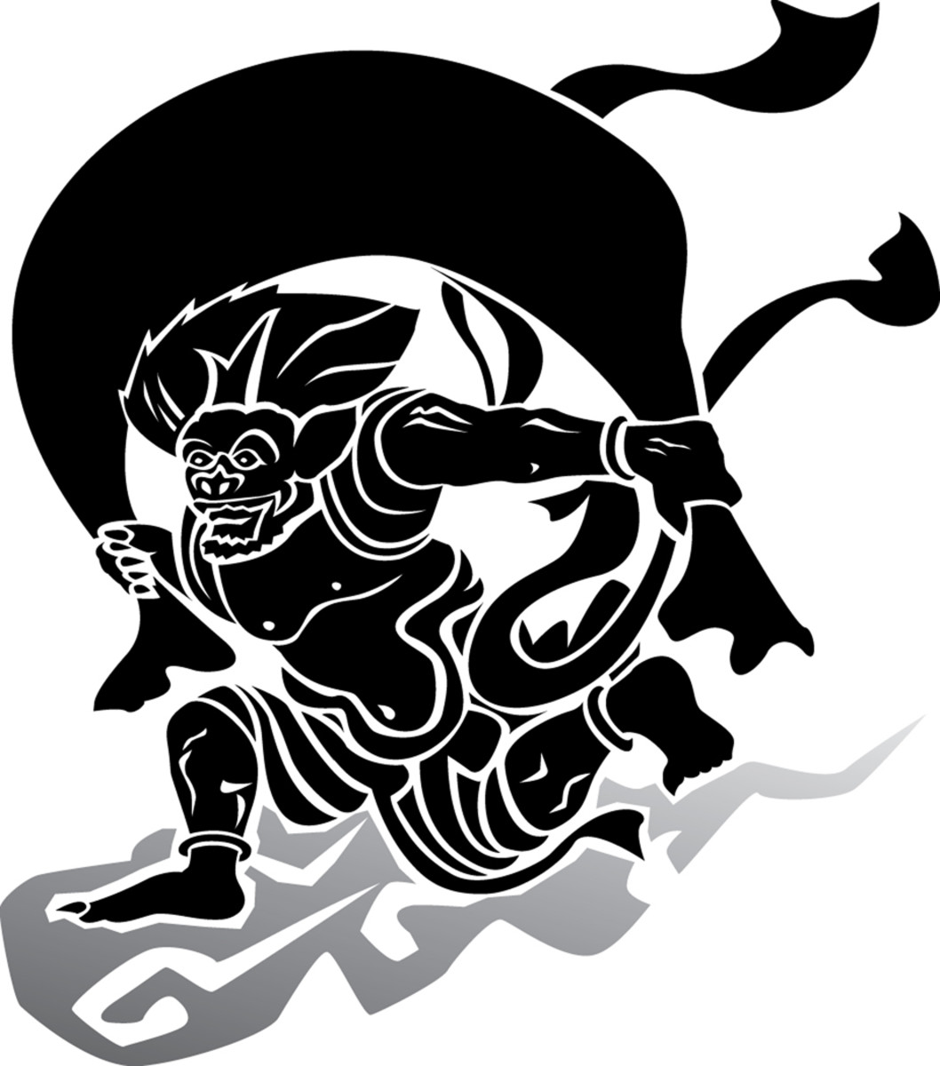 Japanese woodcut character-demon