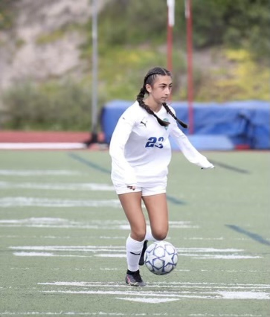 Ashley Mekitarian playing soccer. Photo courtesy George Mekitarian.