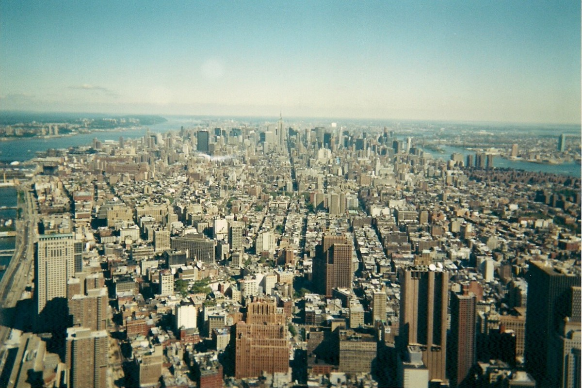 VIEW OF THE CITY NORTH FROM THE TOP OF THE WORLD TRADE CENTER (photograph by James A Watkins)