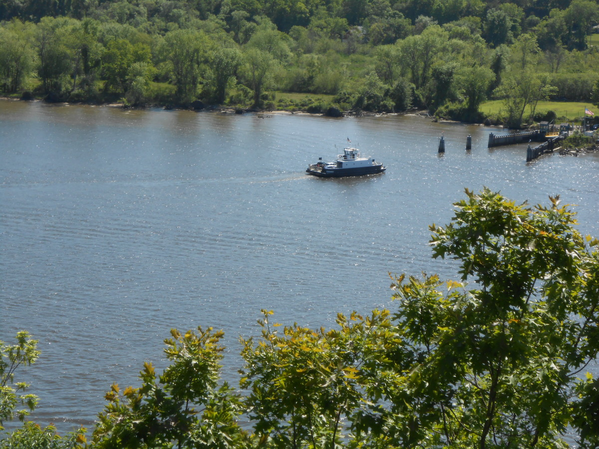 A view of the ferry crossing the Connecticut River, seen from the castle terrace.