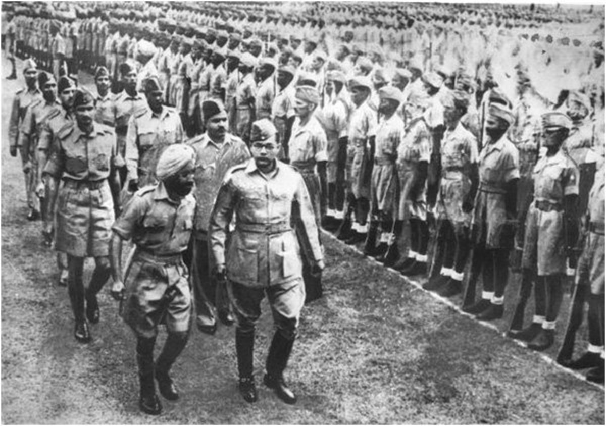 Bose with INA troops