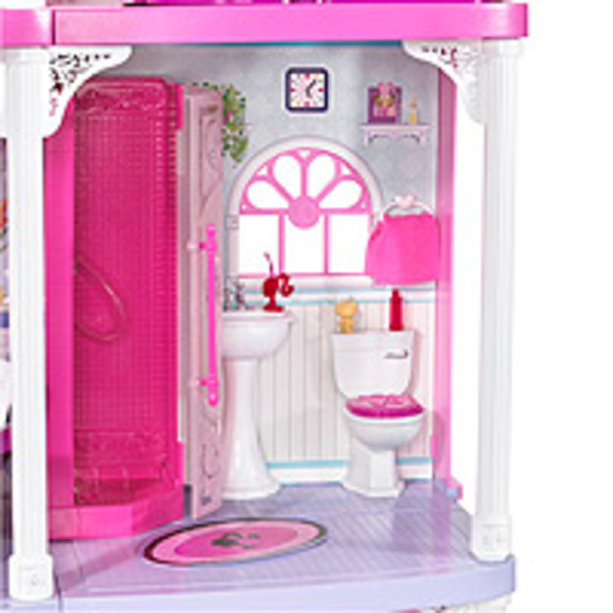 The Barbie dollhouse has a stocked fridge in the full kitchen. Just think all the dinner parties she can have.The timer sound will tell your guests when it's time to eat.