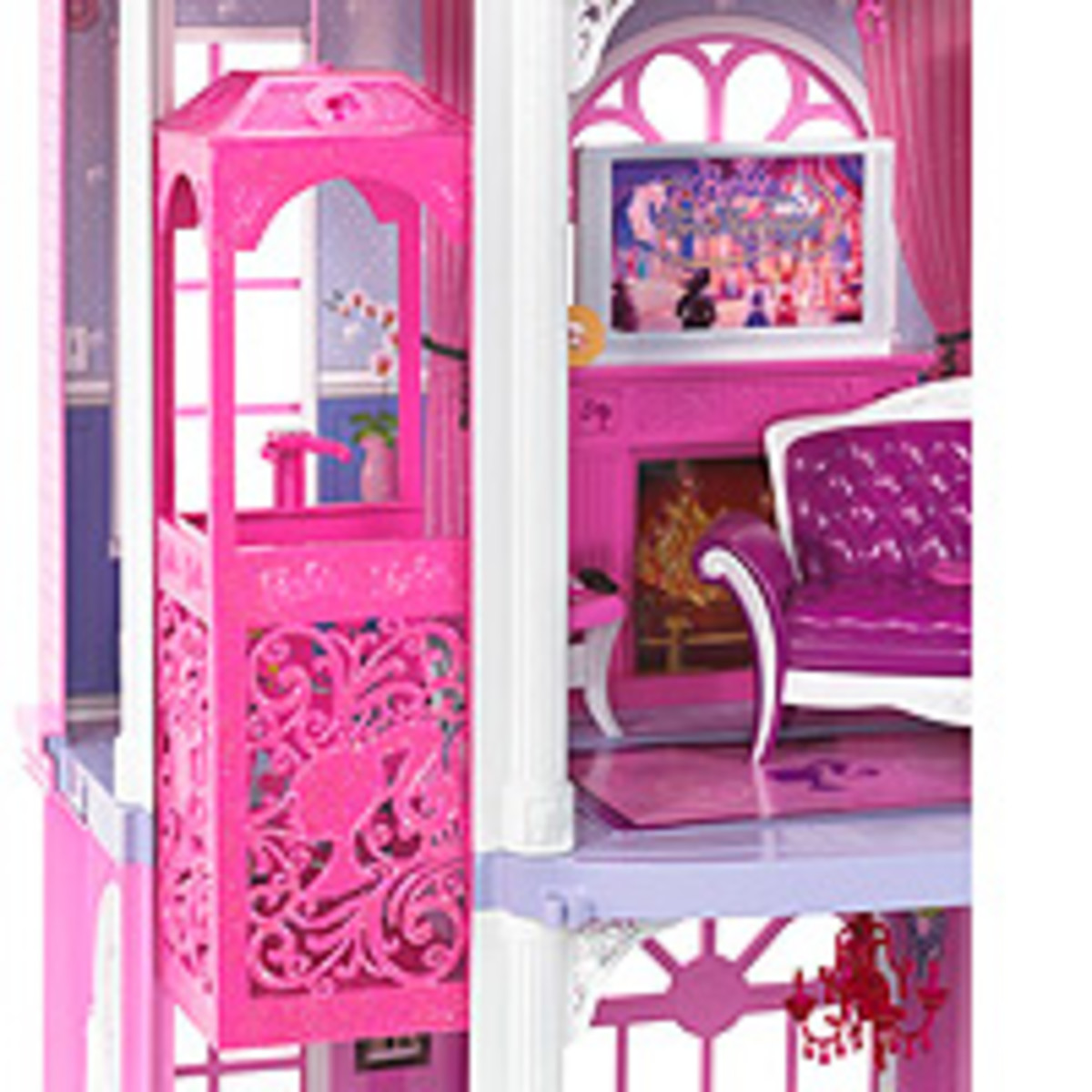 Getting around a dream townhouse has never been easier. Girls control the Barbie elevator as to all 3 floors.