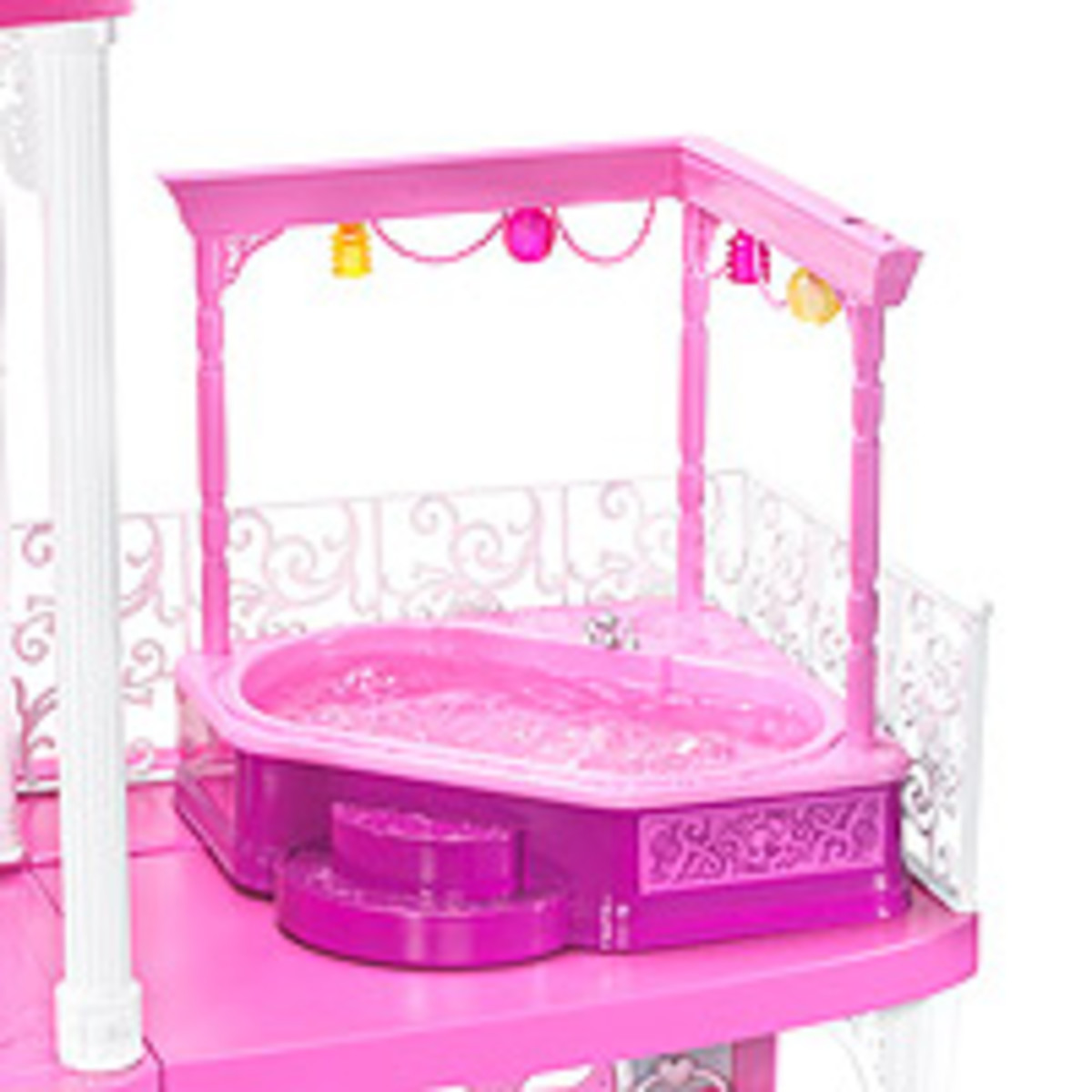 Barbie dollhouse would not be complete without the whirlpool that is on the third floor balcony. The perfect place to relax with friends.
