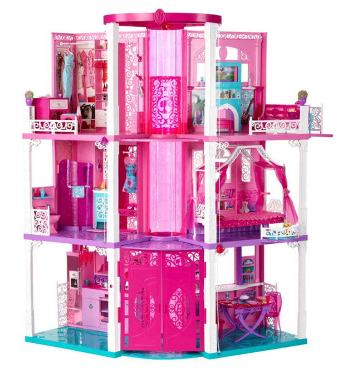 Barbie Fashionista Doll House Full View all 3 floors