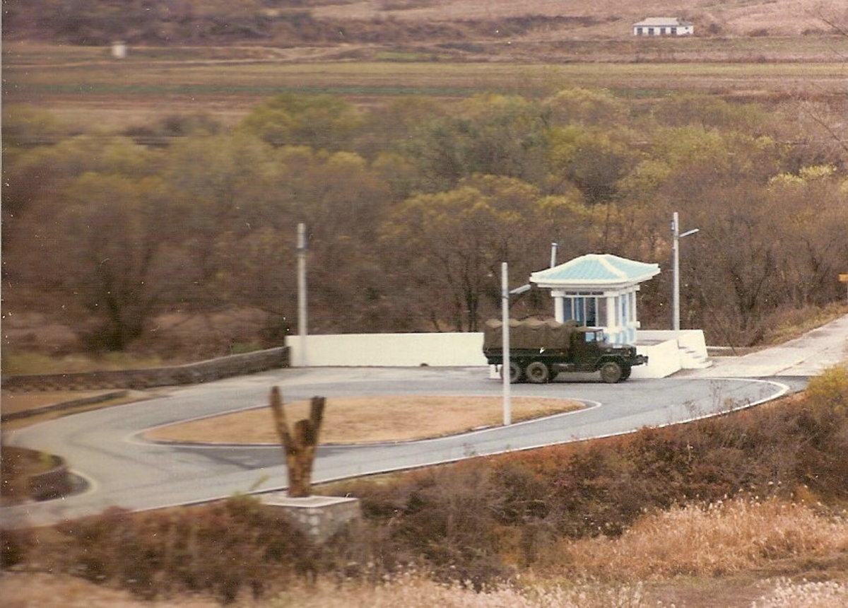 Panmunjom, where the negotiations took place and the crew of the USS Pueblo walked across the bridge to freedom.  Photo taken 1985.