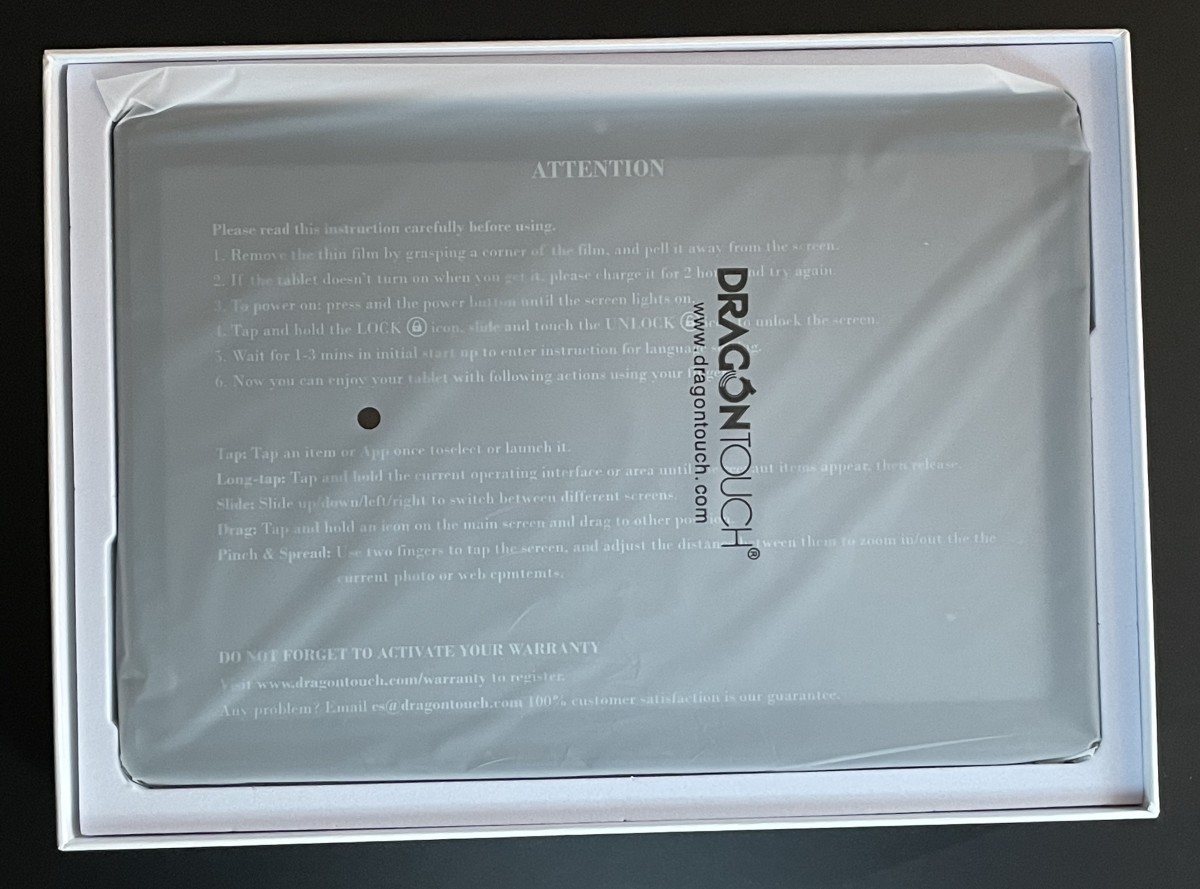 The tablet inside of the box.