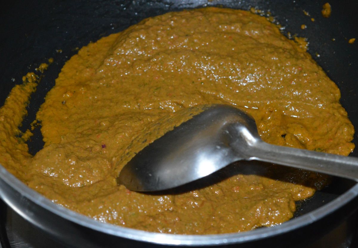 Step three: Saute the paste in the same pan.