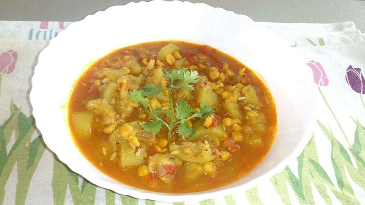 Prepared with louki (bottle gourd)