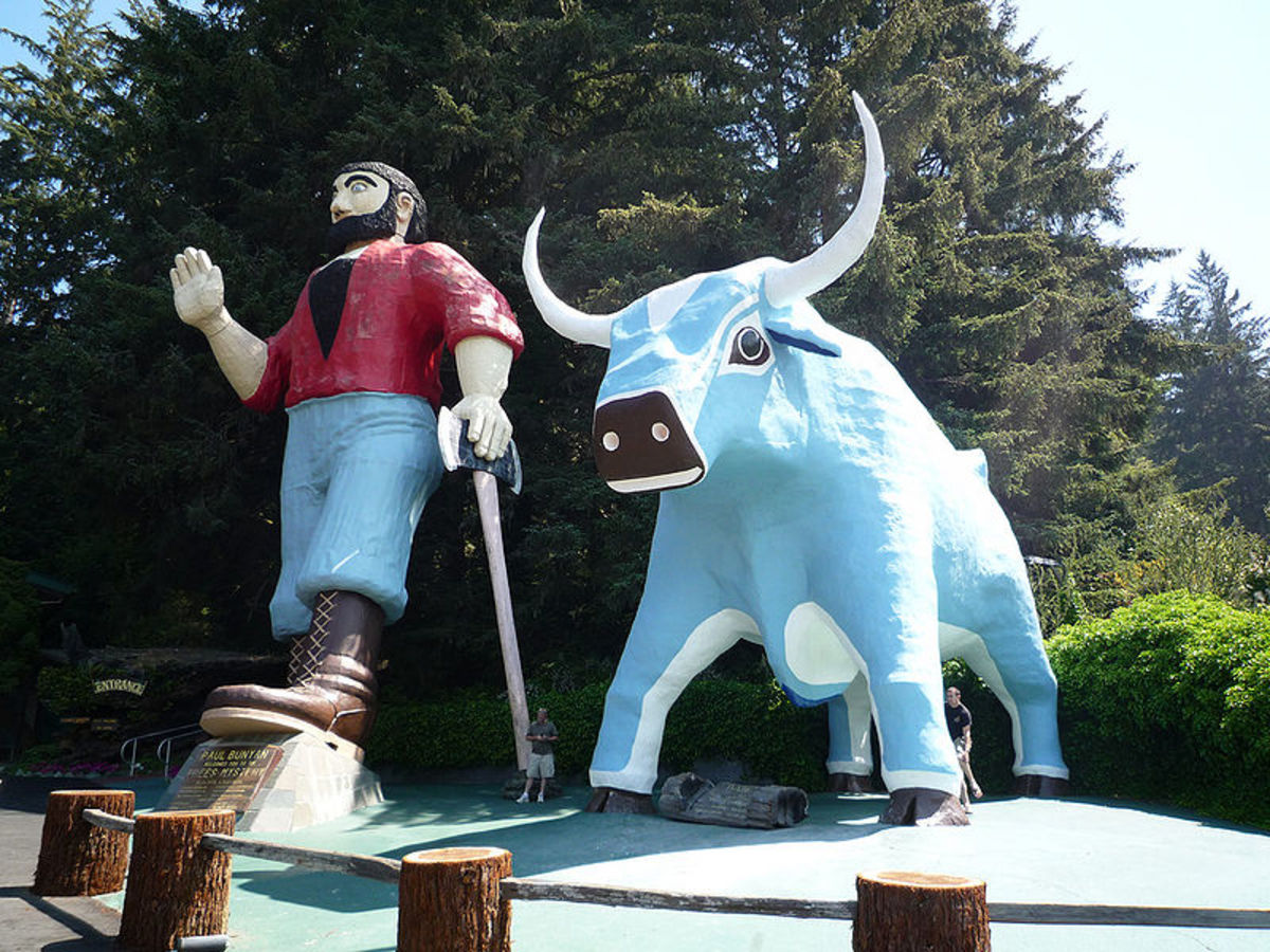 Paul Bunyon with Babe the Blue Ox