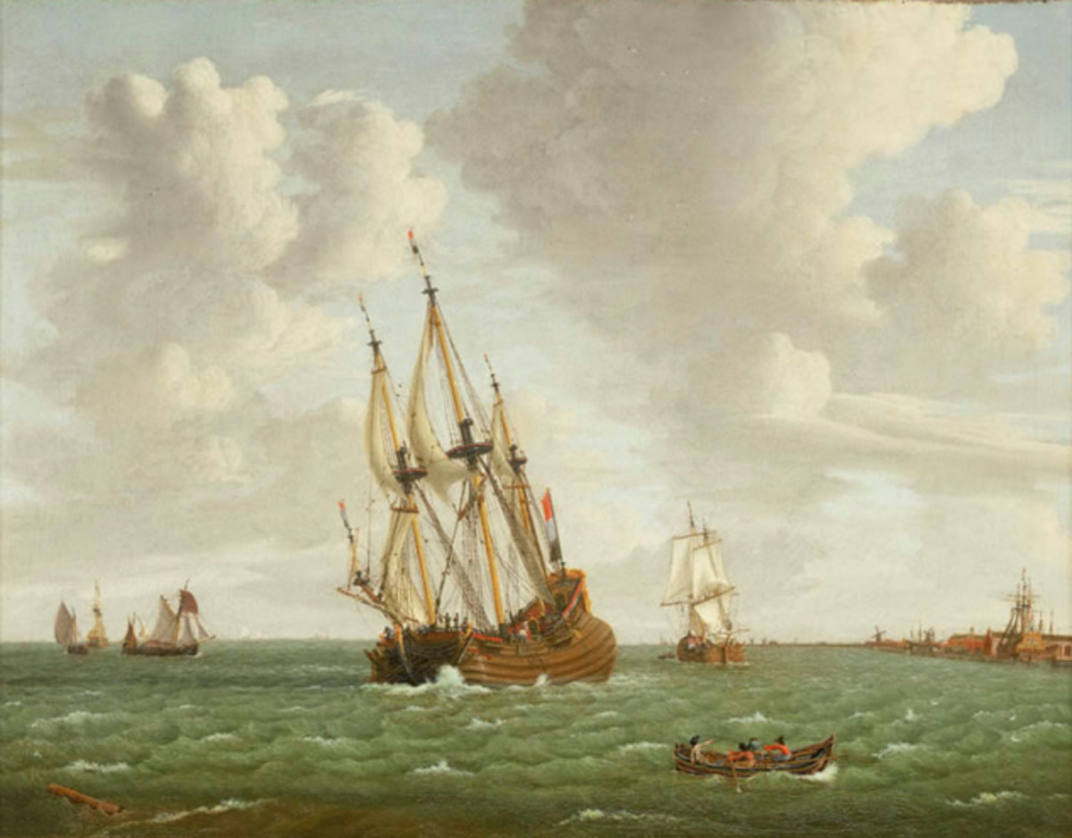 This Dutch ship is sailing by the wind. Alas, I couldn't find a public domain image of a tall ship sailing large.