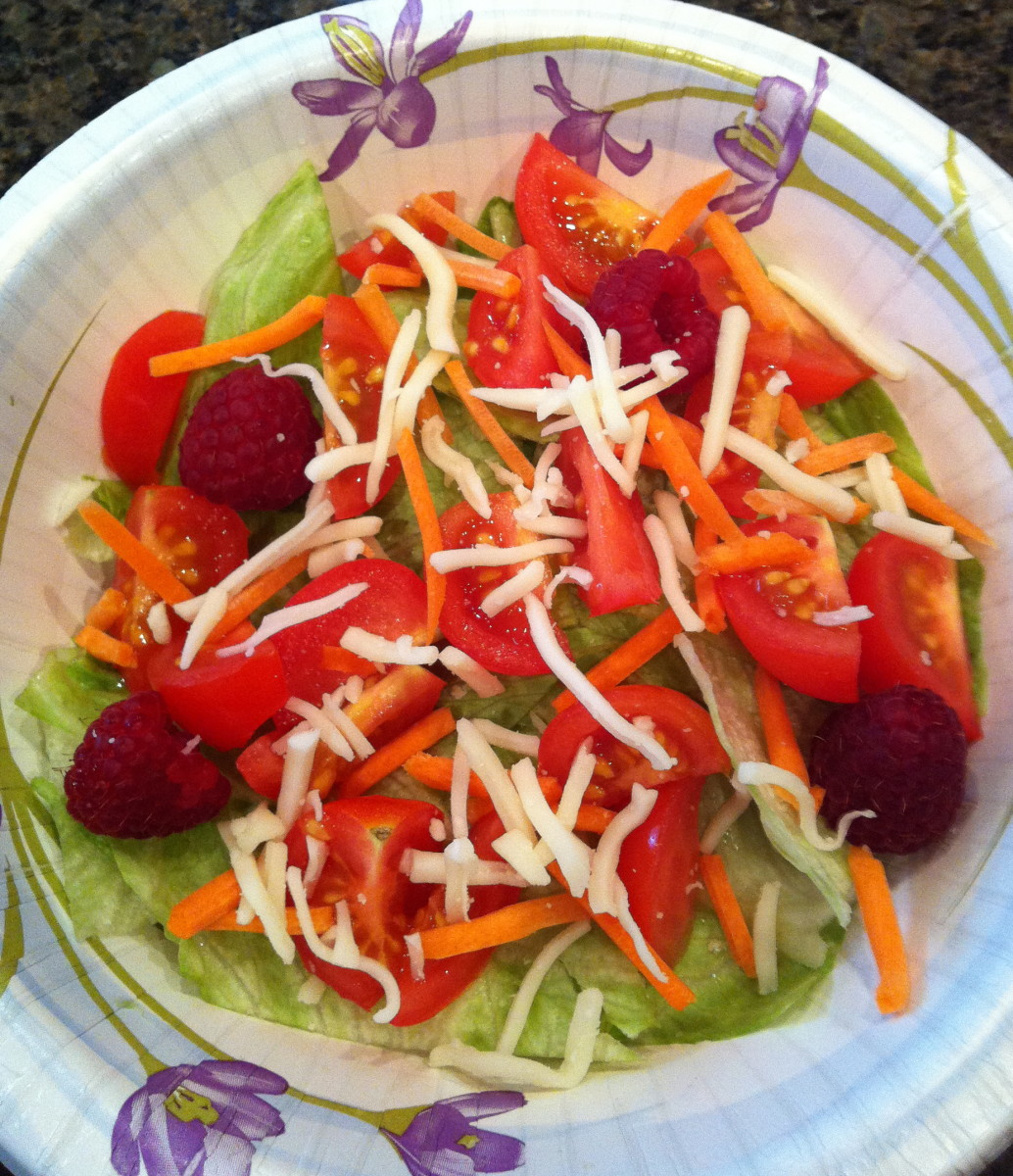 Raspberry and tomato salad