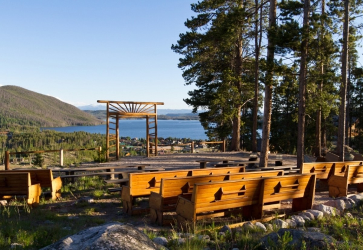 Picture from the Grand Lake Lodge brochure shows the wedding knoll. Can you think of a more pretty place to be married?