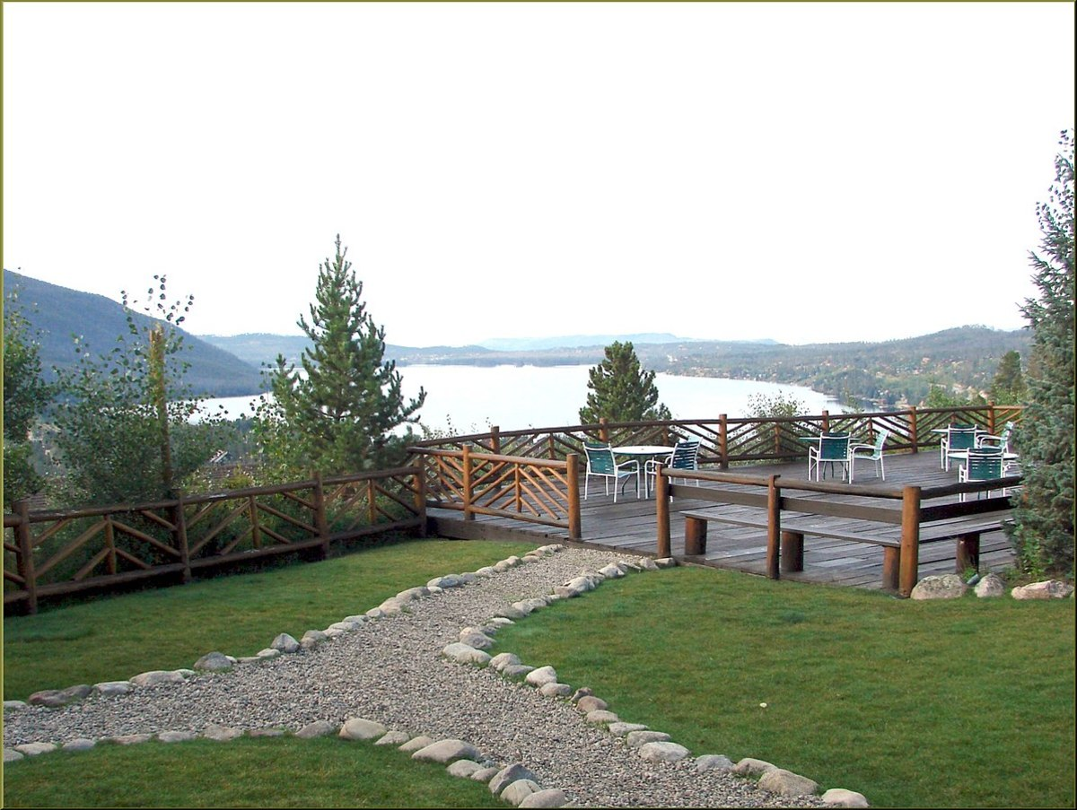 In front of the Grand Lake Lodge is another deck on ground level. It would be a great place to enjoy a cold drink. In the background is Shadow Mountain Lake which lies just southwest of Grand Lake.