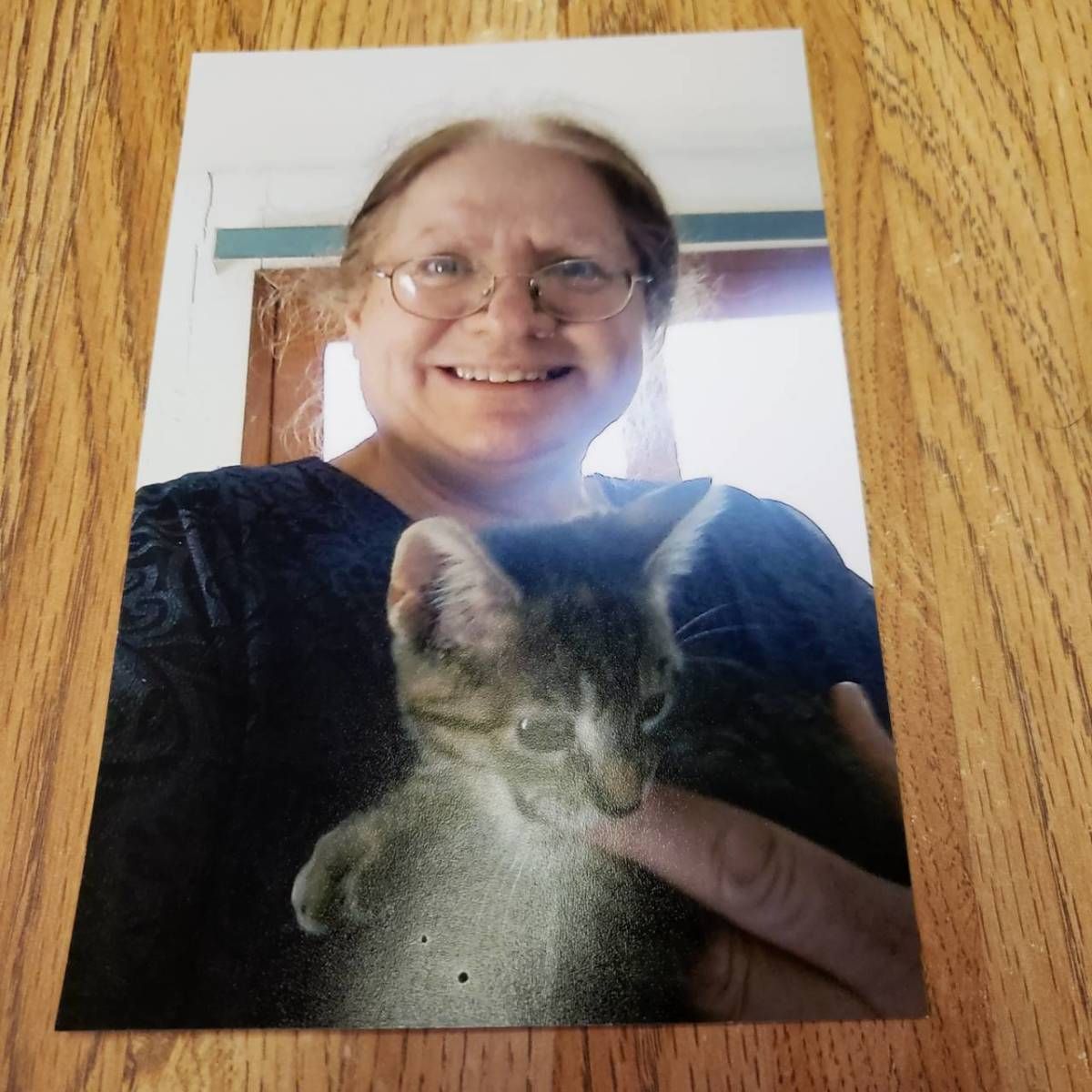 Connie with cat.  Taken in 2021