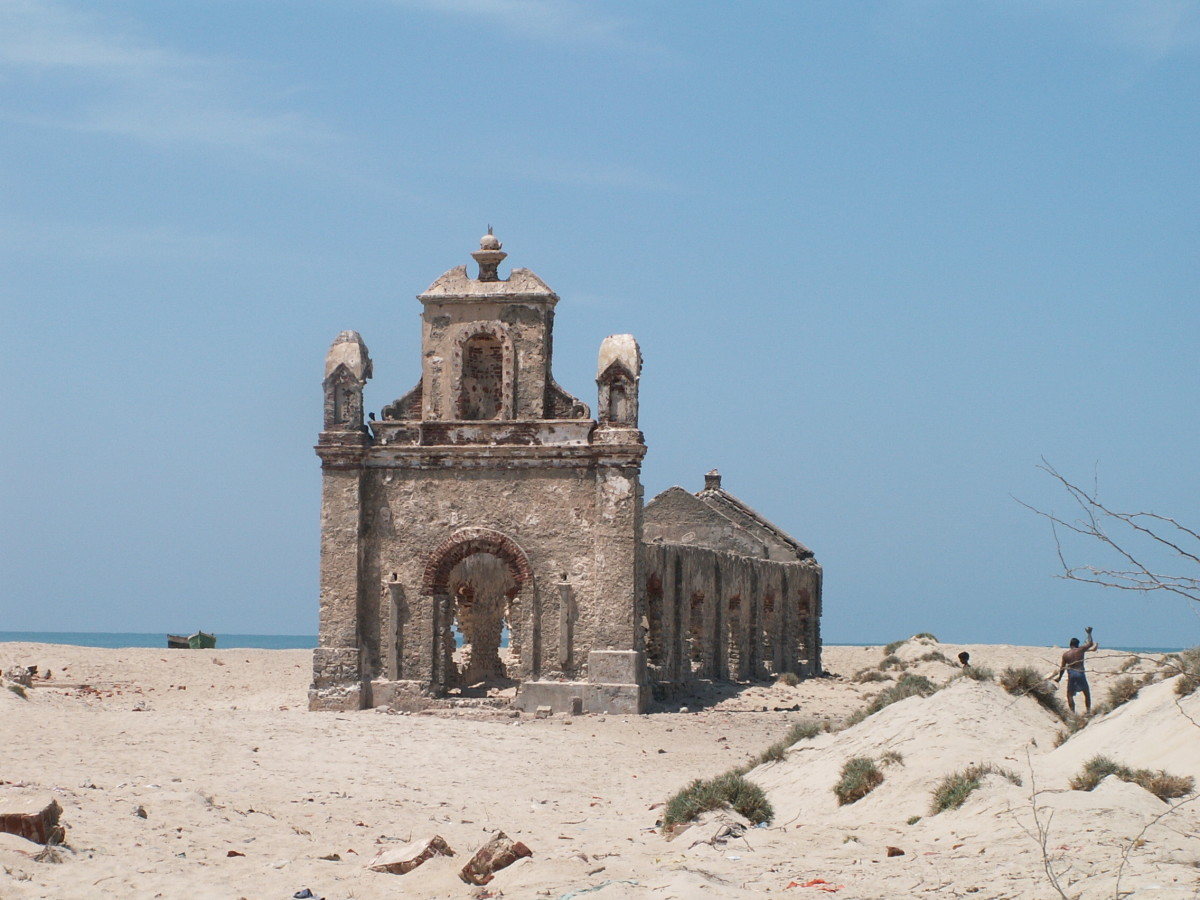 Dhanushkodi  has a railway station, a church, a temple, a post office, a small railway hospital, a higher secondary school, and houses, among other things.