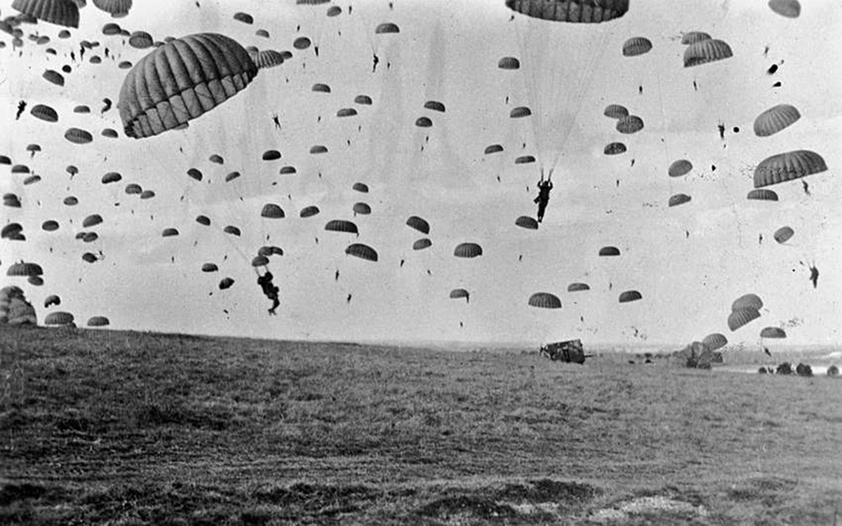 Troops being parachuted into Holland during Operation Market Garden.