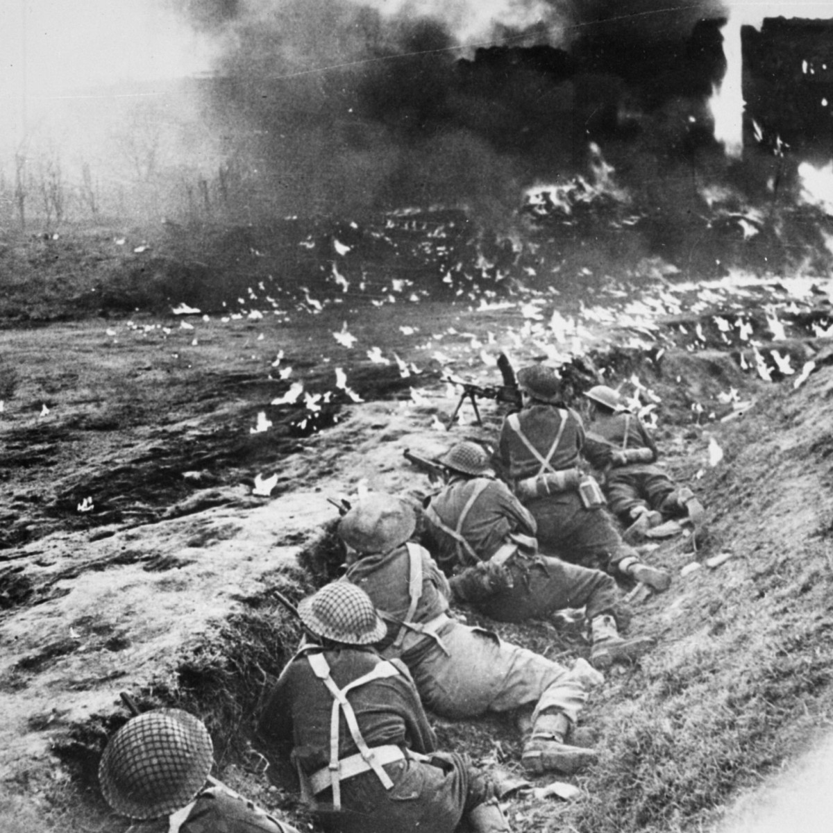 British Troops pinned down by German fire during Operation Market Garden.