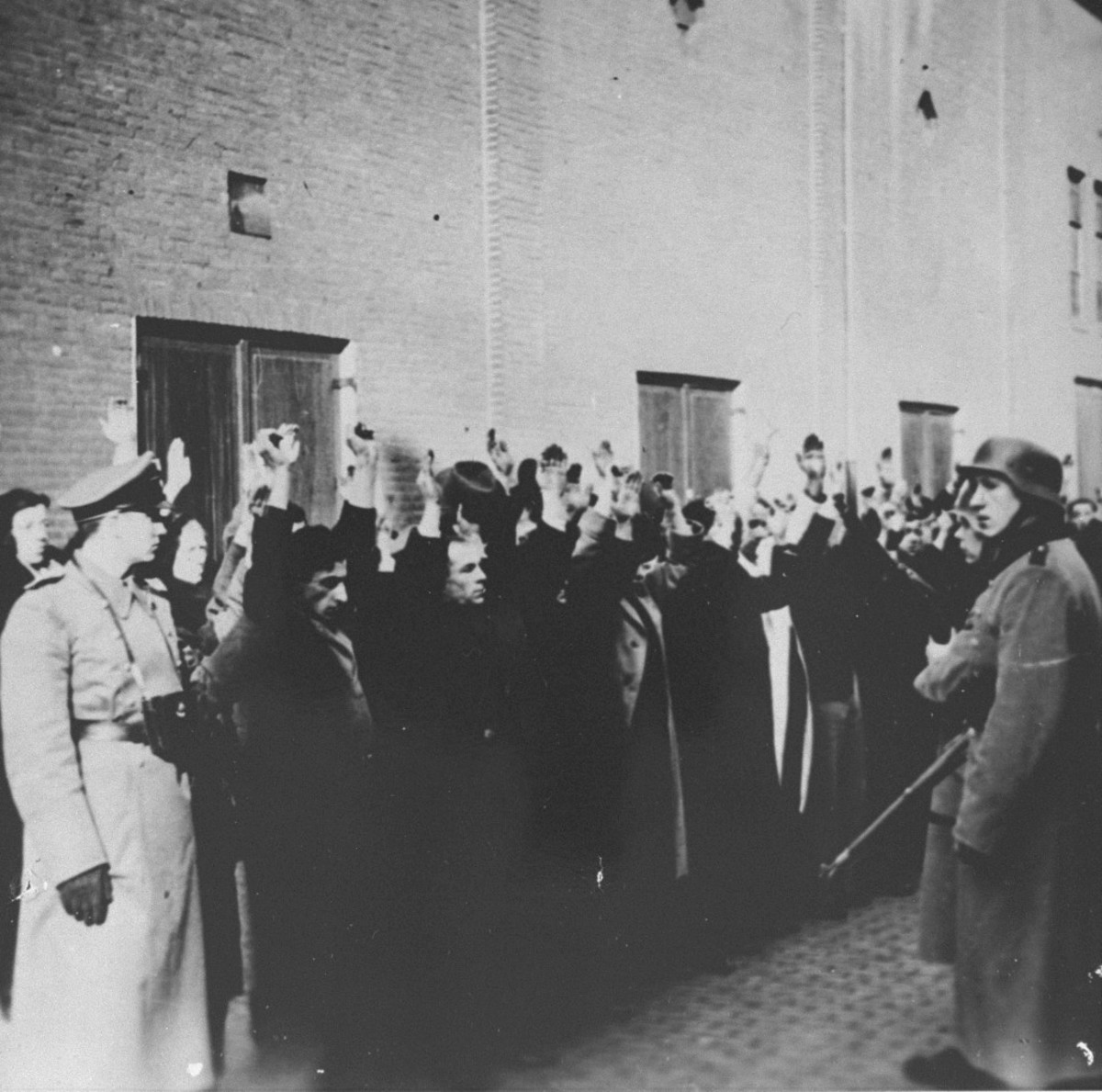 Dutch Jews lined up to be headed to concentration camps.