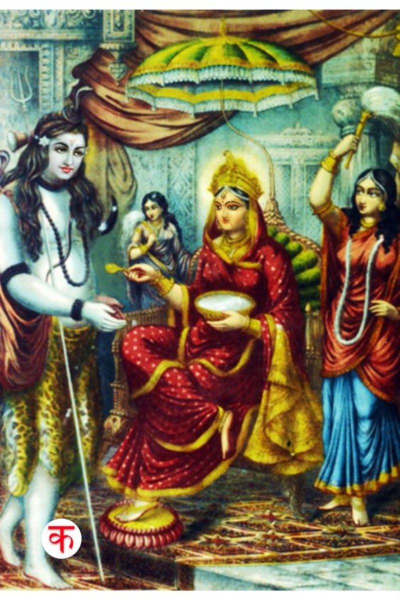Annapurnadevi is giving food to Lord Shiva