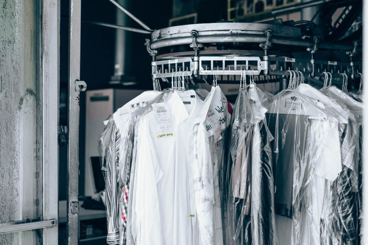 Dry cleaning uses an organic solvent instead of water.