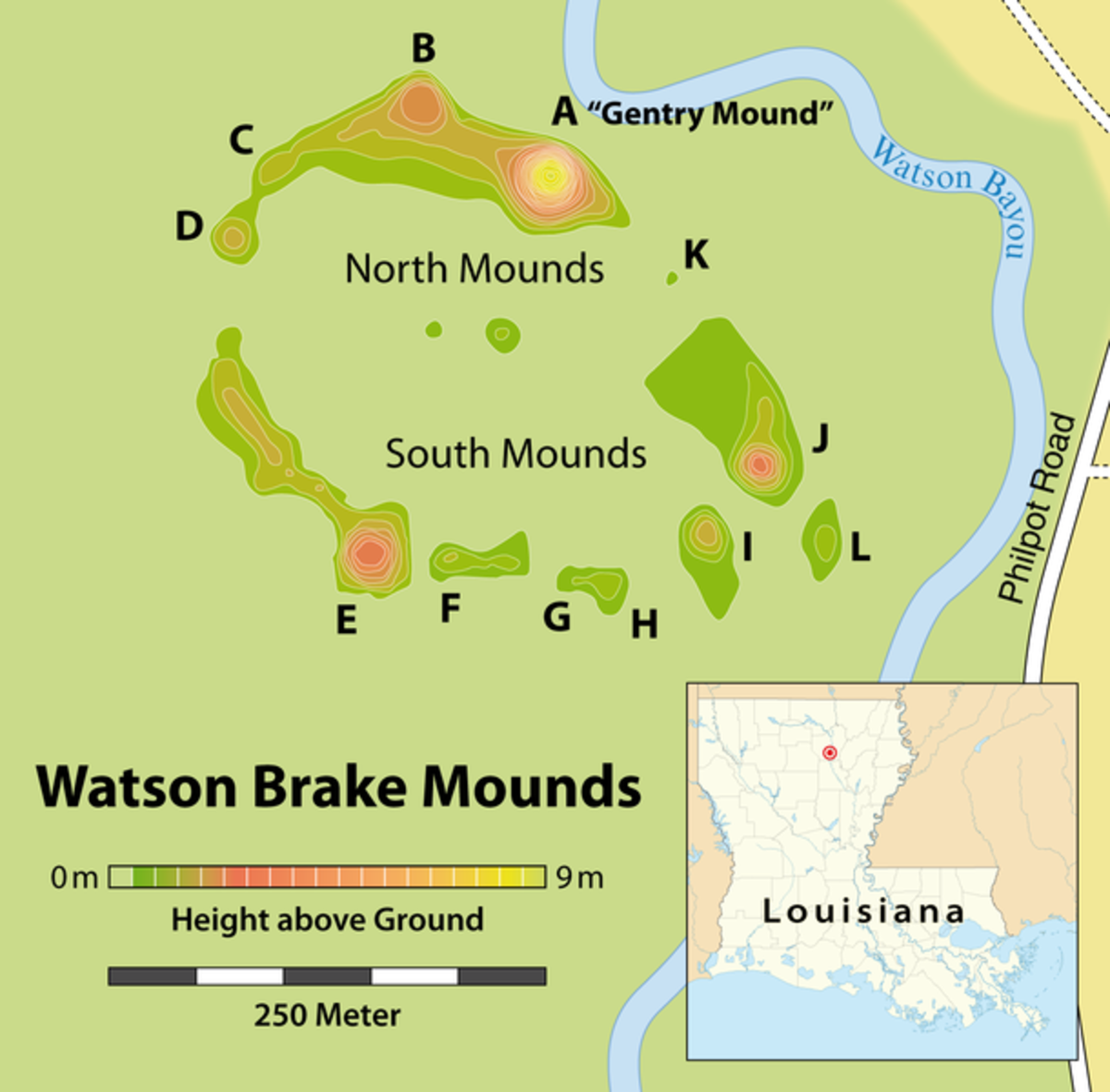 Watson Brake mounds site in northern Louisiana.