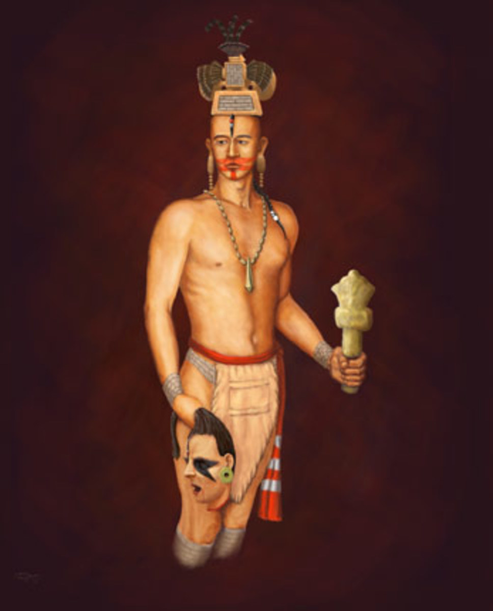 Mississippian priest, with a ceremonial flint mace, image by Herb Roe, based on a repoussé copper plate