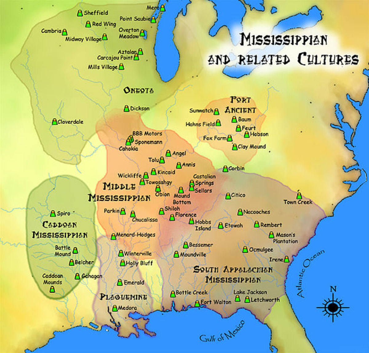 Map showing Mississippian and related cultures that existed prior to European contact.