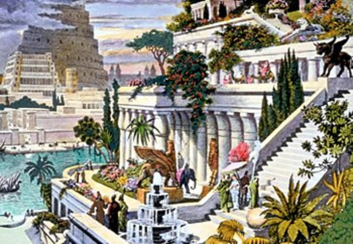 The Hanging Gardens of Babylon are described as including terraces of plantings, and may have provided one of the early examples of roof gardens.