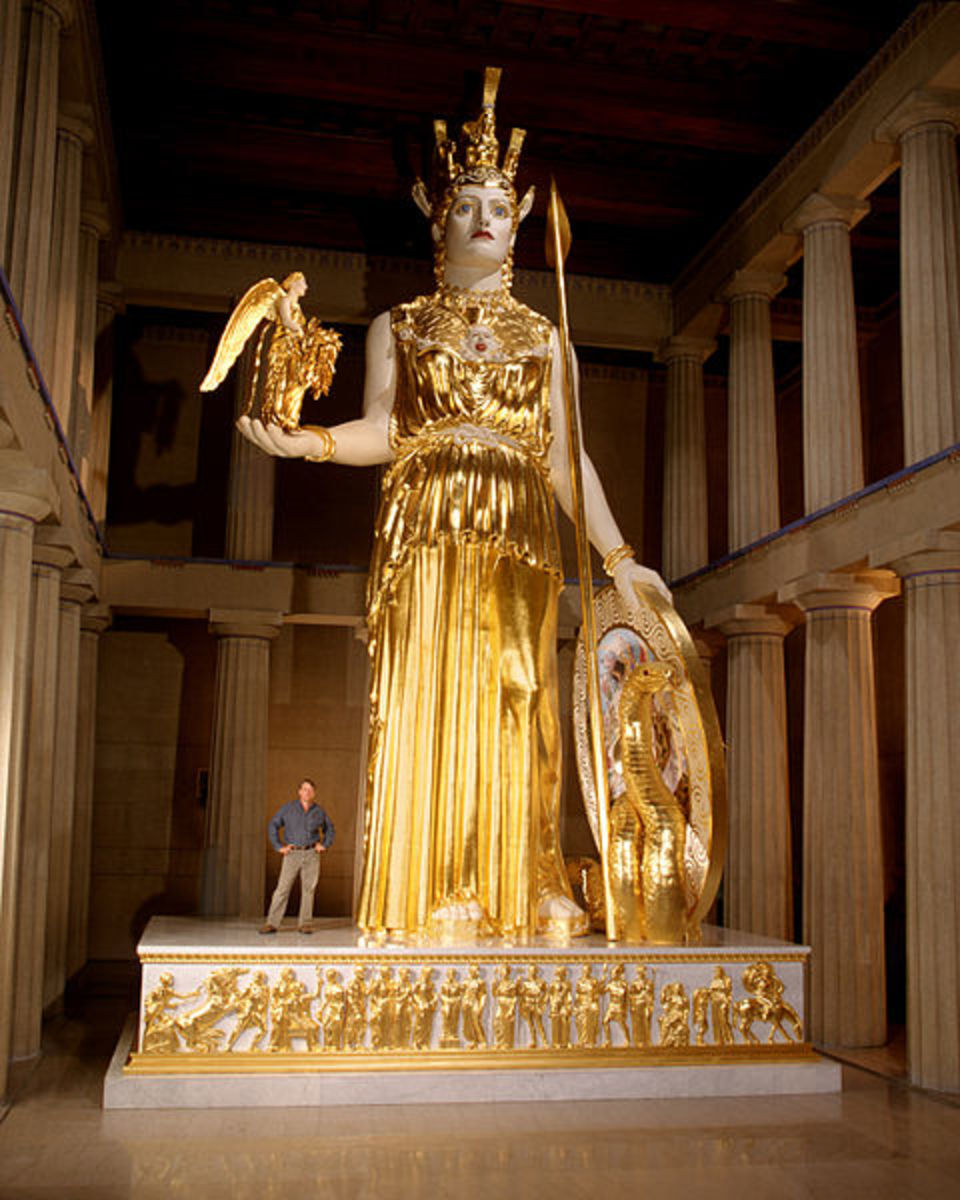 A recreation in modern materials of the lost colossal statue by Pheidias, Athena Parthenos by Alan LeQuire is housed in a full-scale replica of the Parthenon in Nashville's Centennial Park.  The photograph is by Dean Dixon.