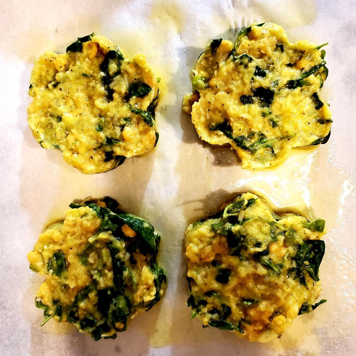 Make four patty-shaped buns.