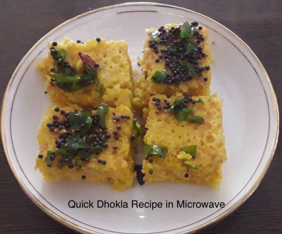 Besan ( Gram flour) Dhokla Recipe, in a Microwave
