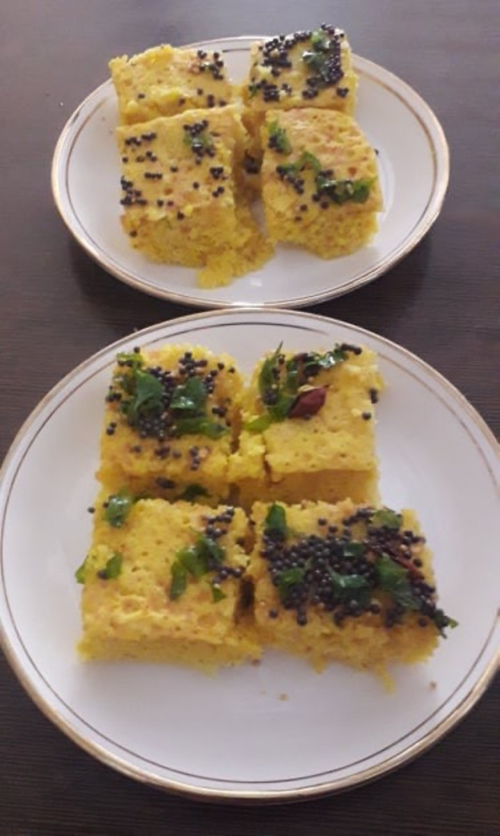 After tempering, Dhokla is ready to eat.