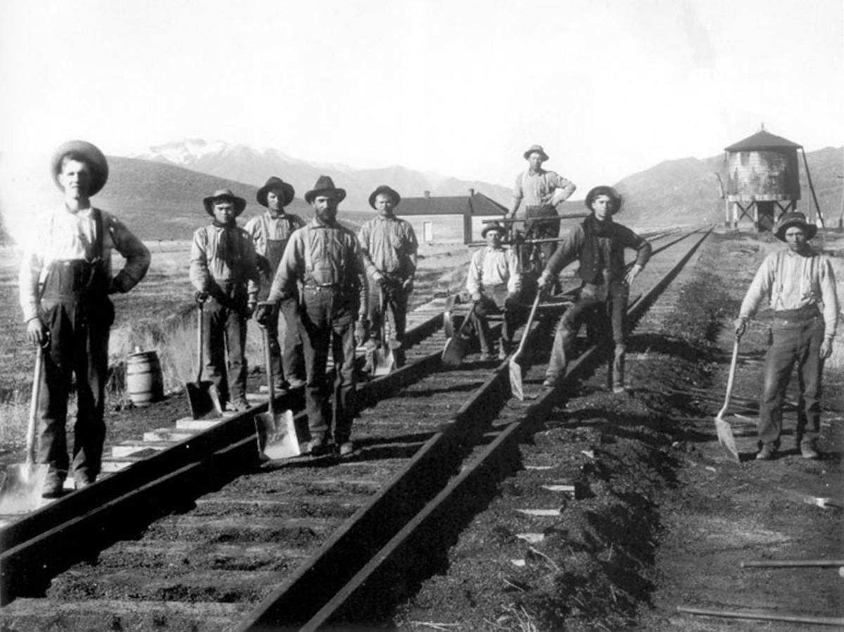 Early railroads were built by manpower.