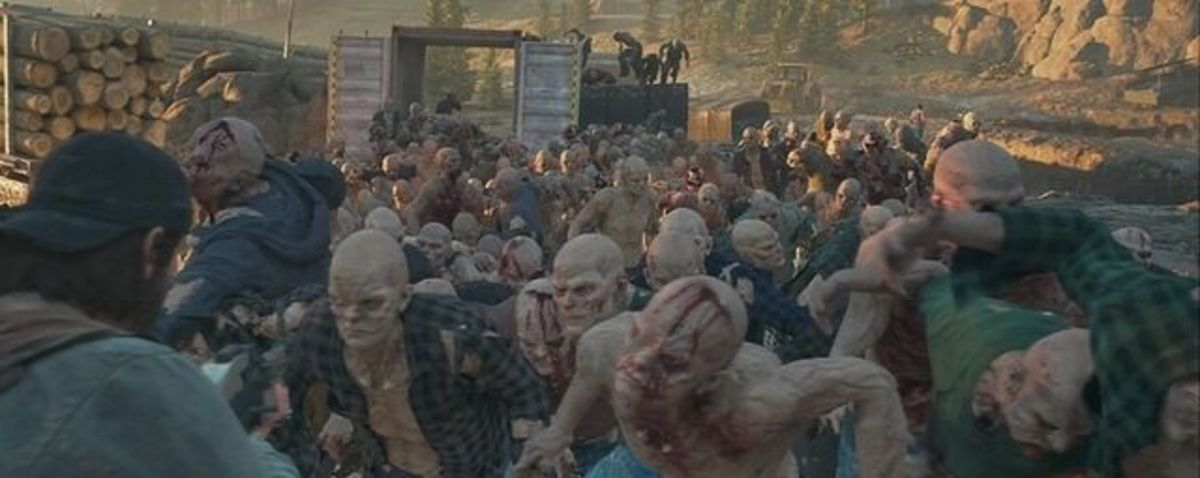 Deacon facing down a Horde moments before death.
