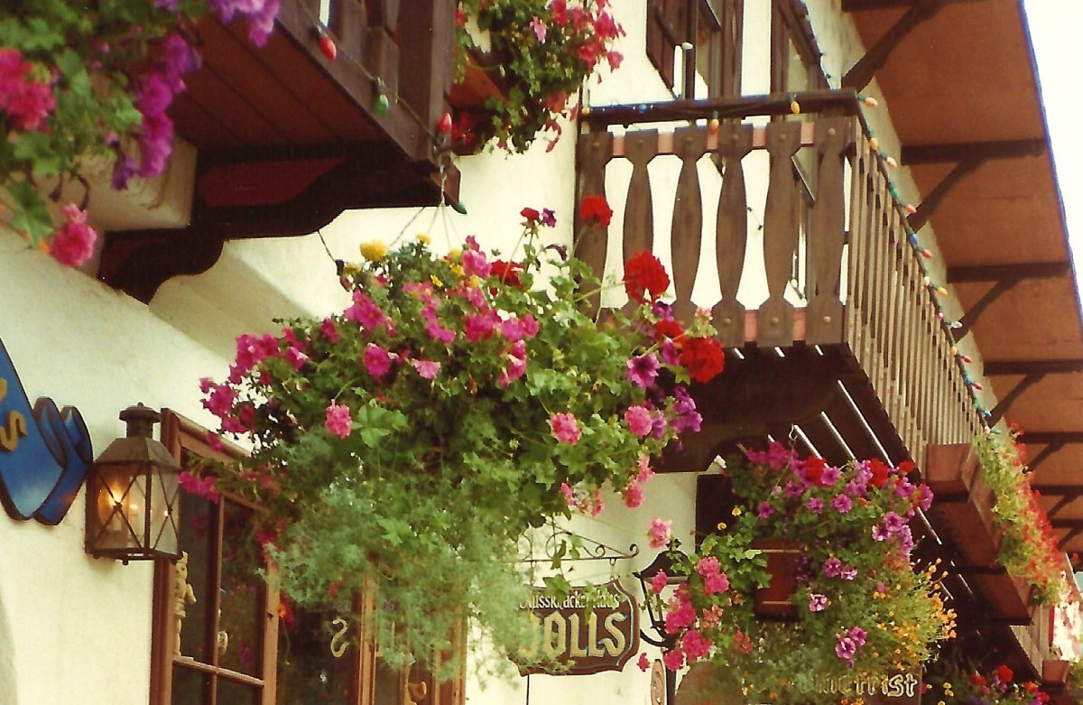 These buildings in Leavenworth, Washington, have a similar look to those in a Bavarian village.