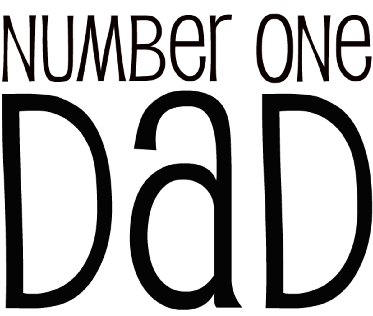 Number One Dad Father's Day clip art -- black