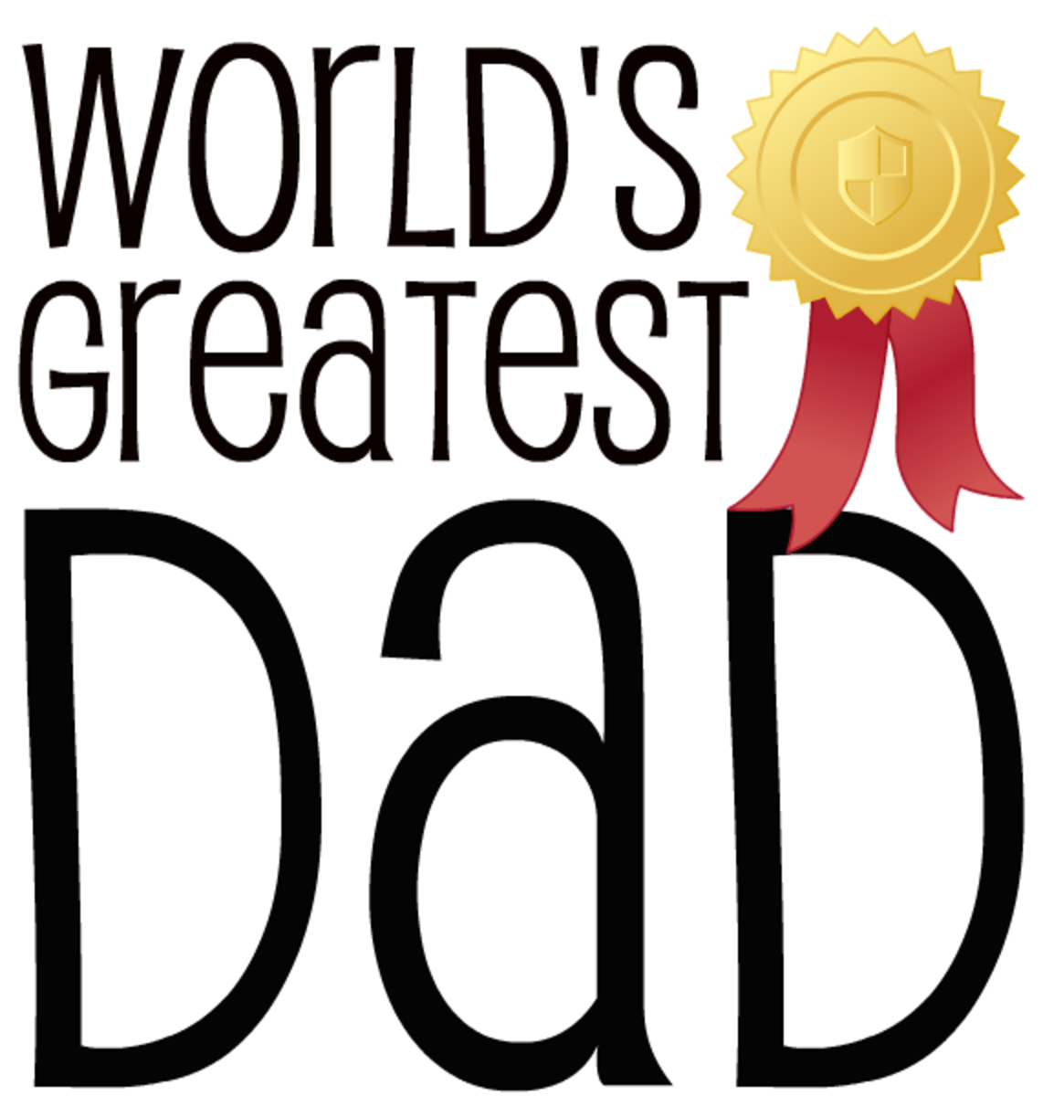 World's Greatest Dad gold seal and ribbon